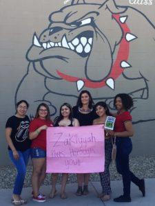 Jessica with Zakiyyah's classmates at Sierra Linda High School.